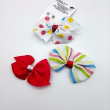 J42 3 Pcs Fashion Hairpins Candy colors Dots Printing Hair Clips Cute Accessories Children Girl Bowknot Headwear