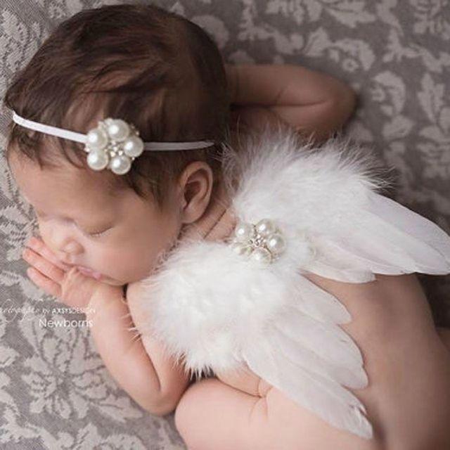 Newborn  Toddler Baby  White Feather Angel Wing +Rhinestone Headband Lovely Baby  Accessories
