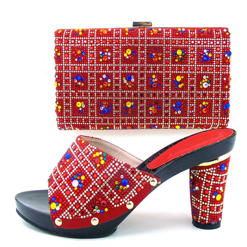 ФОТО Free Shipping,Fashion Woman Italian Matching Shoes And Bags Set,Party Shoe And Bag Set With Party Dress   !DL1-2