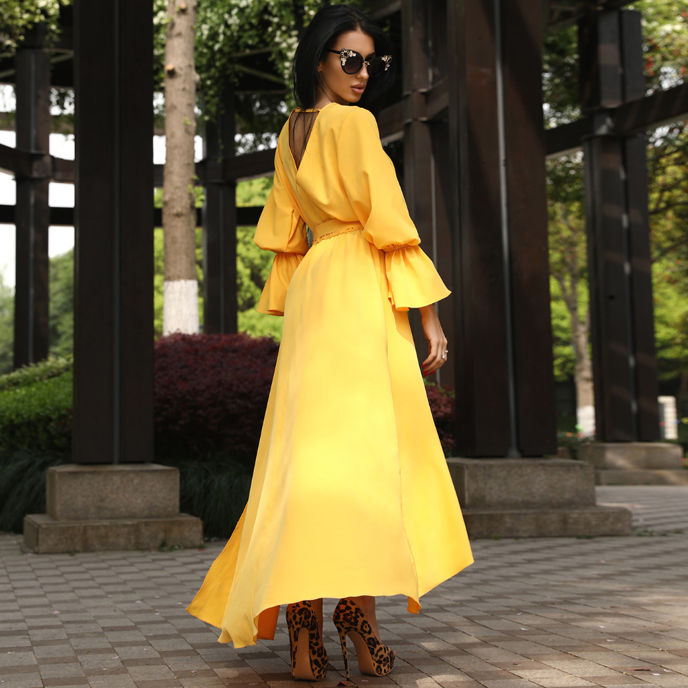 8de32615535ea Detail Feedback Questions about Women Long Belted Shirt Dress yellow ...