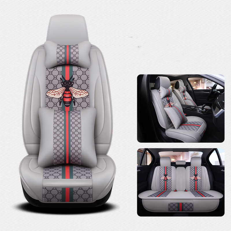 KKYSYELVA Front Rear PU Leather Auto Universal Car Seat Covers Automobile seat cover Car Seat Cushion Set Interior Accessories
