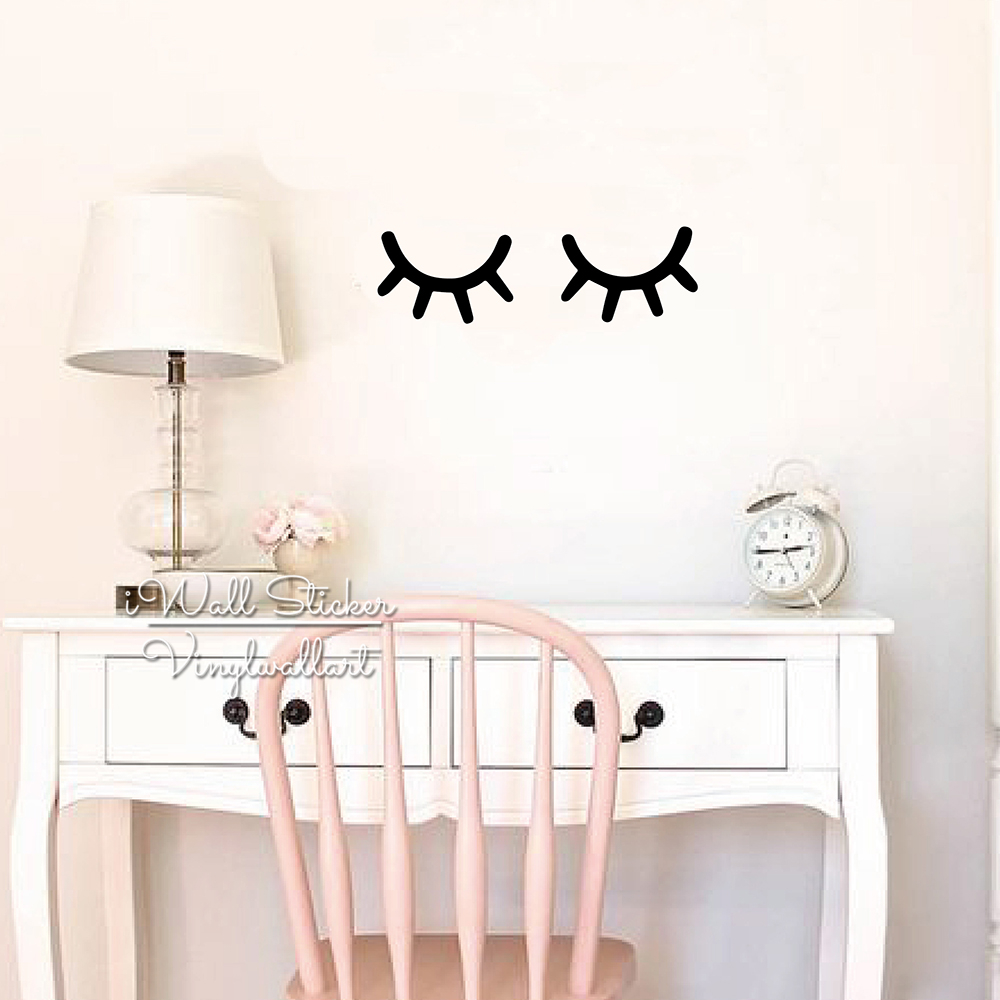 Baby Nursery Eyelash Wall Sticker Girls Room Vinyl Wall Decal Children Kids Wall Decor Easy Wall Art DIY Cut Vinyl N49