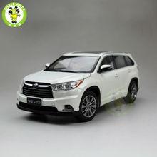 1 18 Toyota Highlander 2015 Diecast SUV Car Model White Color