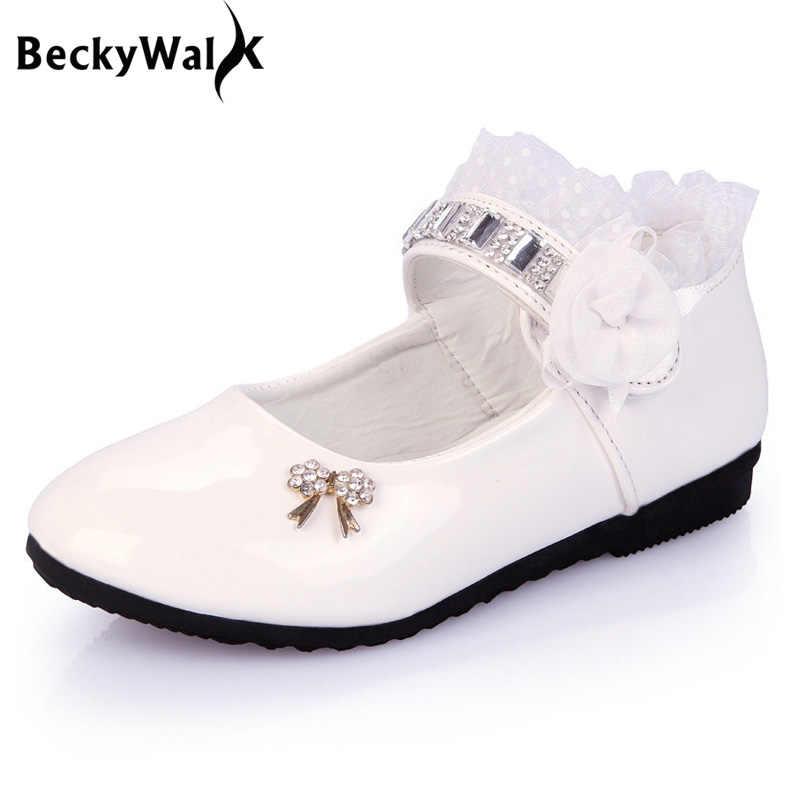 Kant Meisje Schoenen Kids Meisjes Prinses Witte Bruiloft Schoenen Kinderen Baby Meisje Schoenen PU Leer Sneaker Dansschoenen EU21-36 CSH139