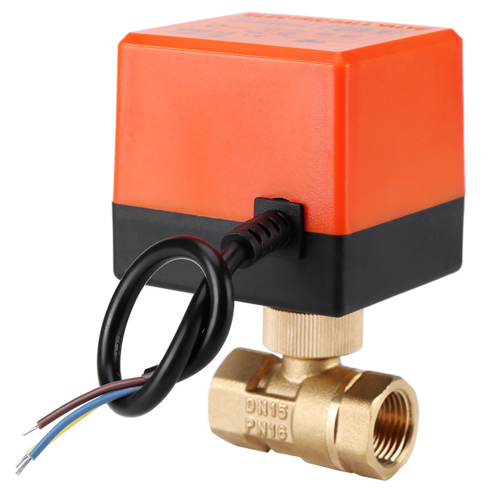 AC 220V DN15//20//25 2 Way 3 Wires Brass Motorized Ball Valve Electric Actuato
