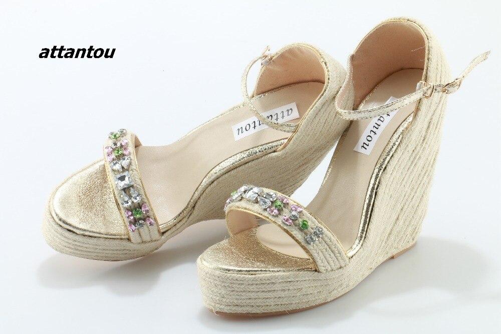Moda Weave Sandálias Heeld Fivela Estilo Elegante Colorido de Cristal Vara Vestido Cunha Sandálias Da Moda Plataforma DressShoe - 2