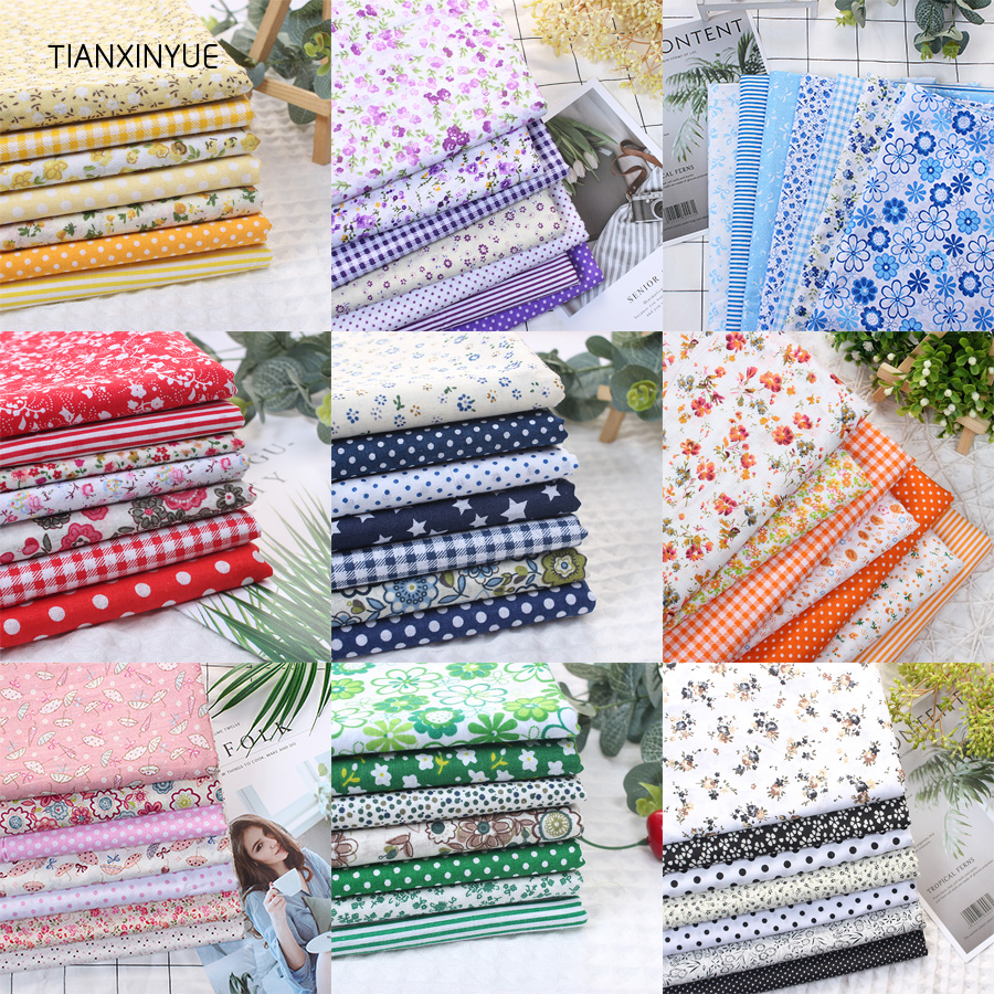 TIANXINYUE Multicolor 100% Cotton Quilts Fabric for Sewing Patchwork Kids Bags Baby toy DIY flower