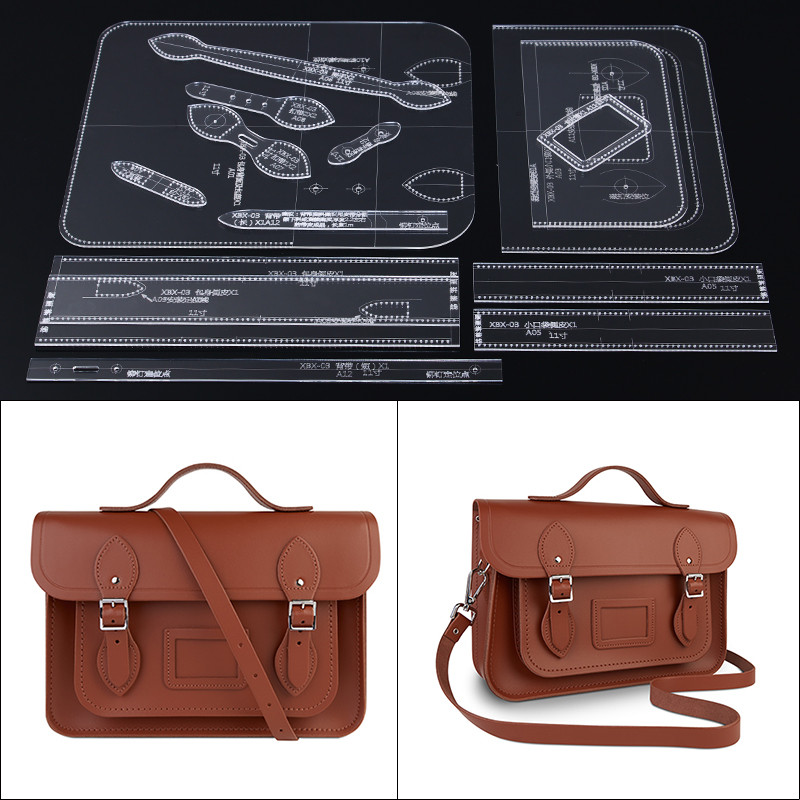 1set Acrylic Template Pattern For Women Cambridge Bag Soft Leather Craft Pattern DIY Bag Stencil Sewing Pattern 28*19*7.5