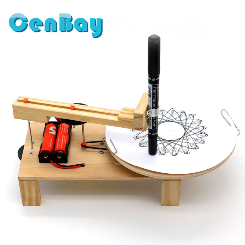 Kids Creative Wooden Electric Plotter Science Toys Automatic Drawing Robot Assembled Model Kits Scientific Invention Experiment канцелярские кнопки drawing pin creative office 136