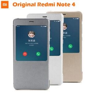 Image 1 - 100% Original xiaomi REDMI NOTE 4 étui à rabat chinois MTK Helio x 20/Version mondiale Snapdragon Cover (5.5 pouces)