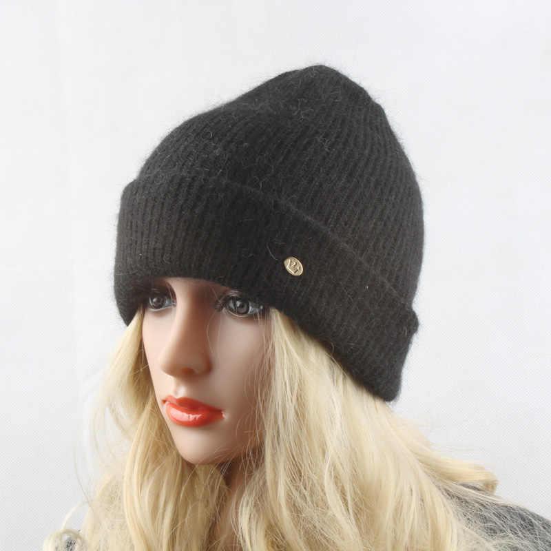 ... Invierno Caliente lana sombreros para las mujeres de piel de conejo de punto  gorros damas Angola fb06f4c1873