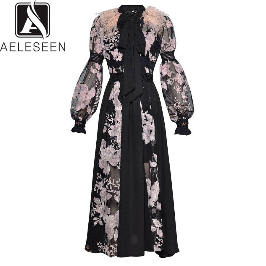 f2e70d6af0 AELESEEN moda sukienka 2019 wiosna rękaw damski poszerzany typu lantern łuk  Feather przepuszczalność Mesh kwiatowy haft