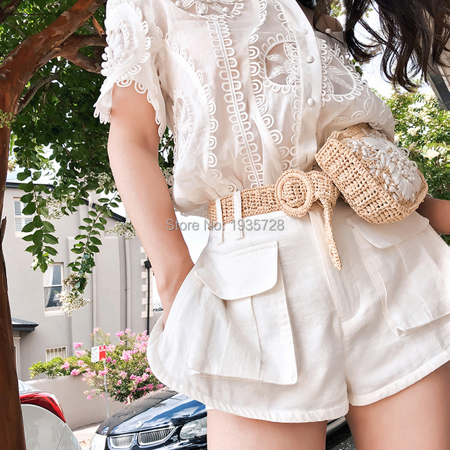 34f4e77d 2018SS Runway Fashion Woman White Oversized WHITEWAVE DOILY SHIRT button up  Hand crafted rouleau trim Cut Out Embroidered TOP