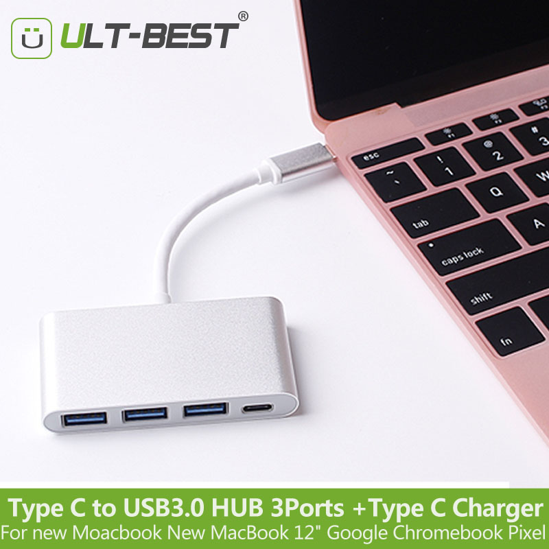 ULT-Best Type-C Type C to USB 3.0 HUB 3 Ports with USB-C Charging Port Adapter Hab for New MacBook 12 Google Chromebook Pixel usb c charging hub super speed usb c type c to 4 ports multiport adapter for apple macbook and more type c devices silver href