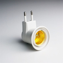 E27 Lamp Bases EU Plug LED Bulb Adapter Converter ABS Material Switch Button Suitable For LED, Halogen Lamp, CFL