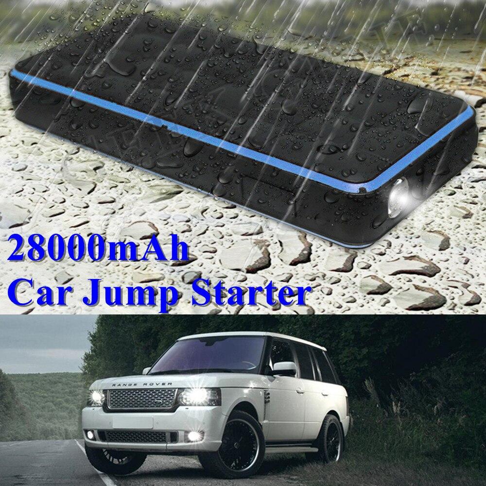 2018 Водонепроницаемый пускового устройства 28000mAh пик 1000А Автомобильное зарядное устройство для автомобильного аккумулятора Усилитель портативный Бензиновый дизельный стартер автомобиля СИД