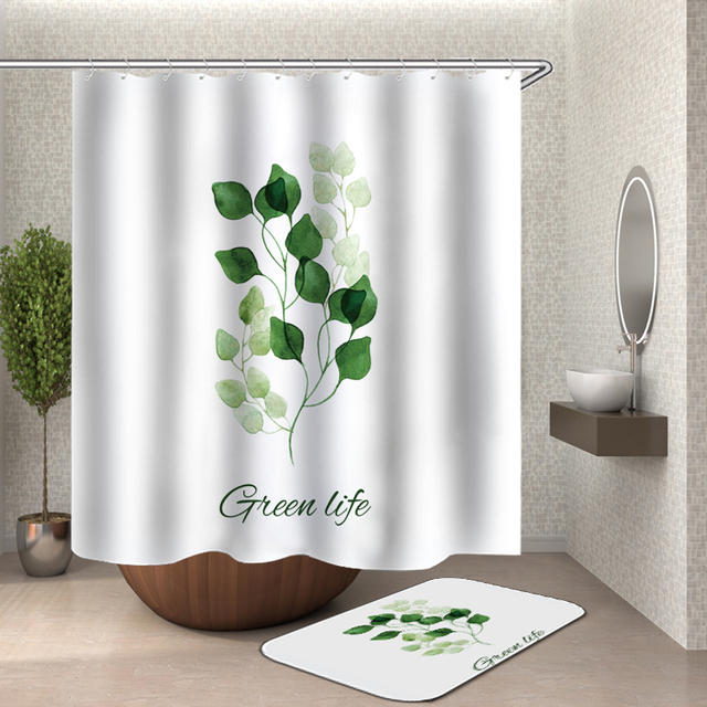 Grün Tropischen Pflanzen Dusche Vorhang Badezimmer Wasserdicht Polyester  Blätter Druck Vorhänge Für Bad