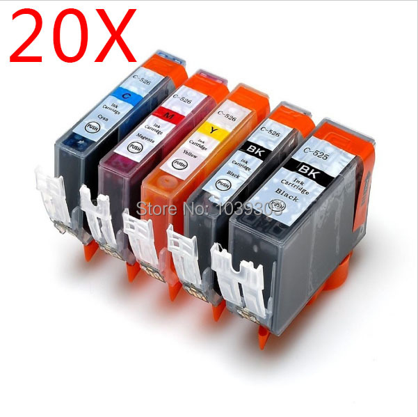 20 pack Compatible Canon 525 526 Ink Cartridge for Pixma iP4850 iP4950 iX6550 MG5150 MG6120 MG6150 MG6220 MG6250 MG8150 MG8250 P