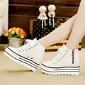 Fashion 2015 Womens Wedges Platform Shoes White Canvas Women Hidden Height High Top Height Increasing 9cm Zapatos PX145