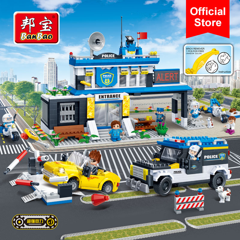 BanBao 7010 Police Station Pullback Car Building Blocks Educational Bricks Model Toy For Children Kids Friend
