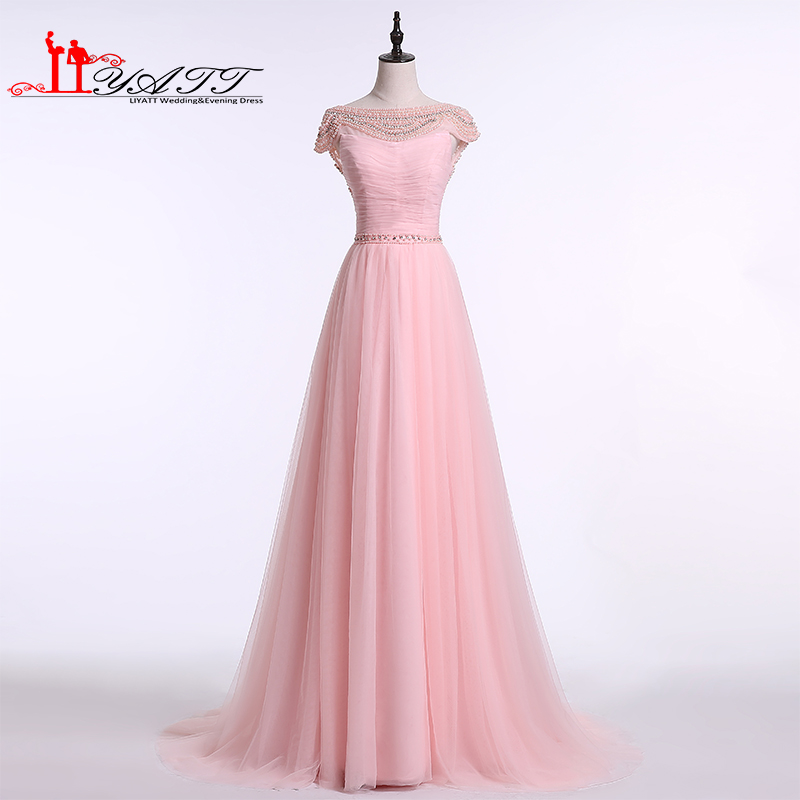 2017 Pink Long Prom Dresses Robe de Soiree Sexy Backless Full Beaded Neck Sweep Train Tulle Formal Evening Dress Party Gown