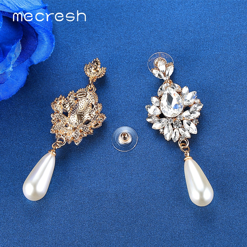 Pls contact us before you leave Neutral or Negative feedback About Mecresh  Elegant Simulated Pearl Bridal Drop Earrings for Women Flower Crystal  Hanging ... ce0e2d26e497