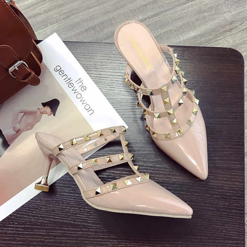 905e295bf2 ... 2018 kitty heel slides designer luxury brand rivets pointed toe mules  sabot talons hauts ladies women