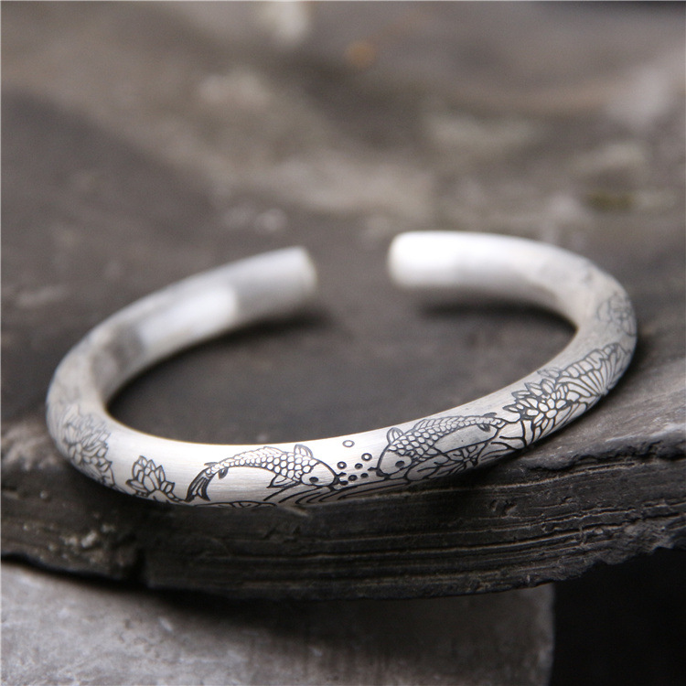 S999 Sterling Silver Bracelet Female Silver Retro Drawing Fish Lotus Openings Bracelet s999 fine silver lotus pisces play lady bracelet wholesale sterling silver folk style ways openings