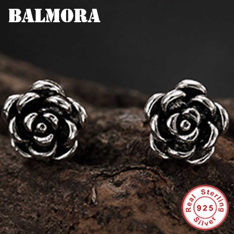 BALMORA 925 فضة لطيف ارتفع قرط صغير زهري للنساء سيدة هدية ريترو أنيقة مجوهرات الأزياء العرقية Brincos
