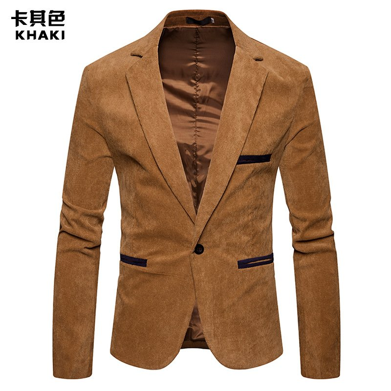 MIXCUBIC 2019 new spring Europen style Unique solid color Corduroy suit men casual Slim Corduroy suit for men size M-3XL