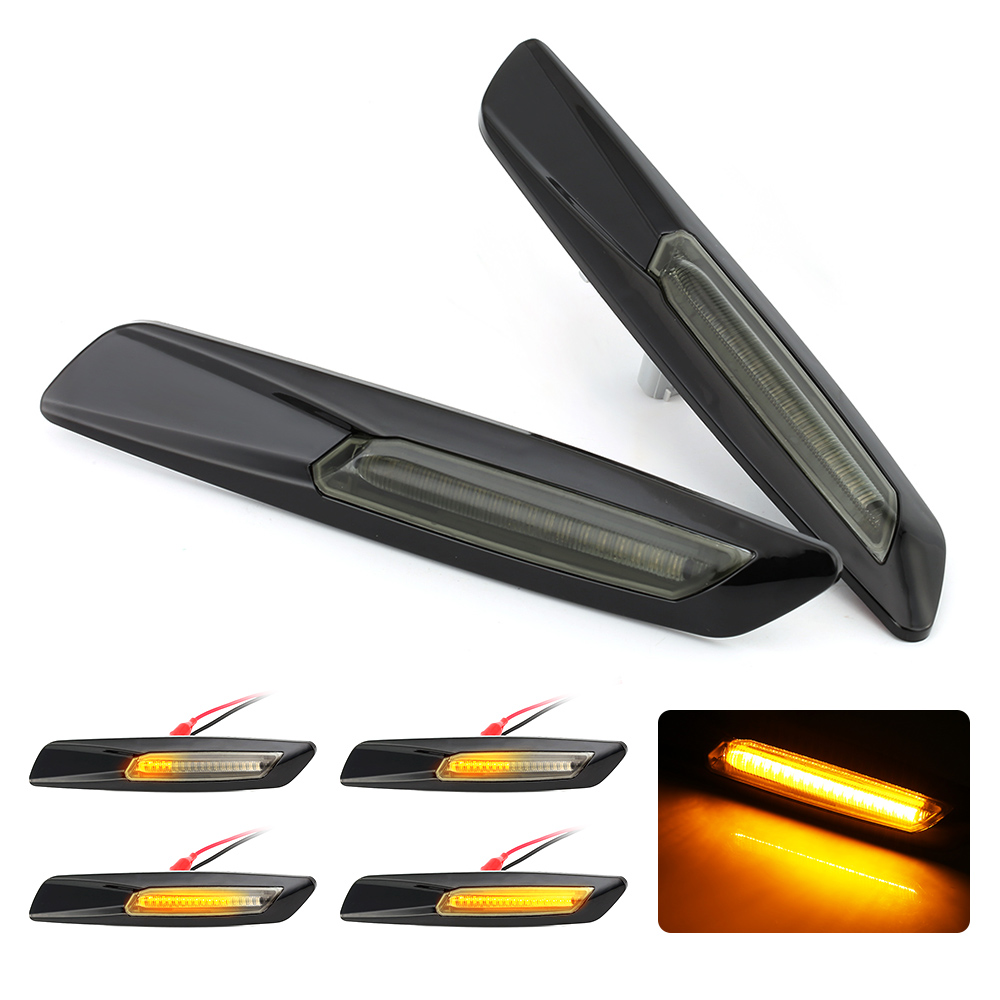 2pcs for BMW E60 E61 E90 E91 E81 E82 E87 E88 Dynamic LED Side Marker Light Turn Signal Light Sequential Amber Yellow Fender La image