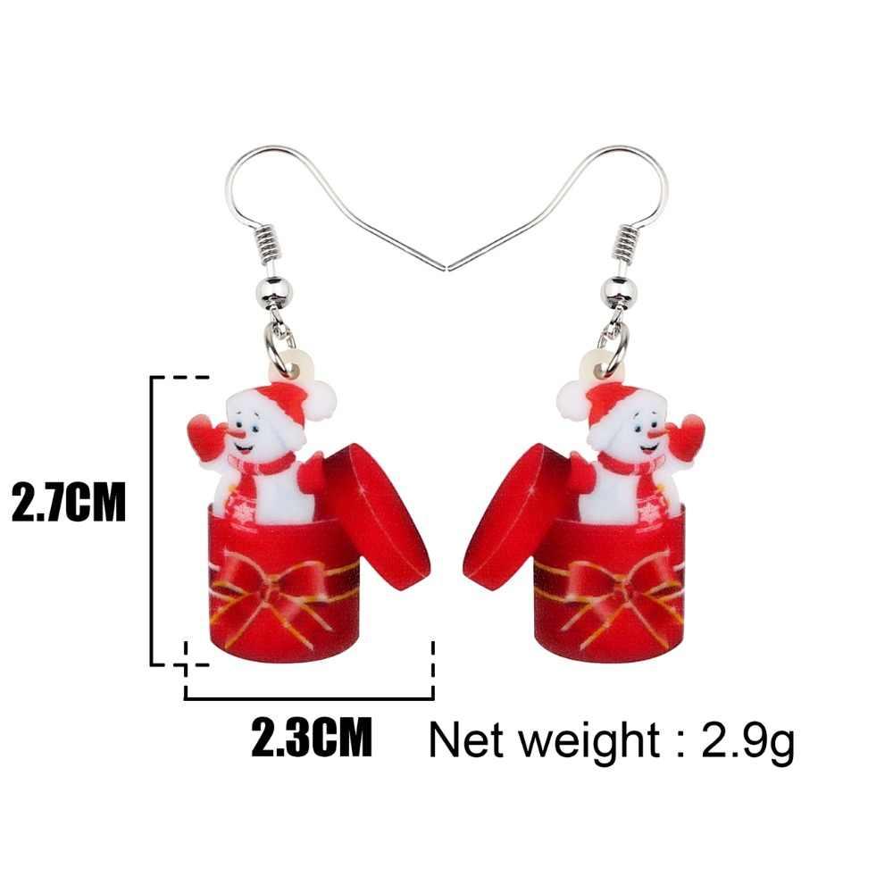 Bonsny акриловые Рождественский Снеговик Подарочная коробка серьги-подвески в форме капли Новогоднее украшение для женщин девушки аксессуары оптом