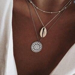 FNIO Üç Katmanları Kabuk Desen Kolye Kolye Doğal Kabuk Altın Kadın Deniz Kabuğu Katmanlı Gerdanlık Kolye Bohemian Mücevher