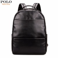 VICUNA POLO Fashion Preppy Style Unisex School Backpack For Teenage Solid Black Men Leather Backpack Travel