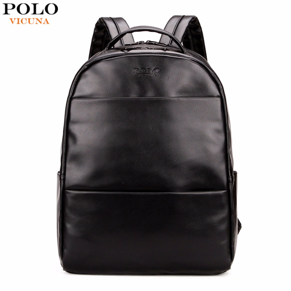VICUNA POLO Fashion Preppy Style Unisex School Backpack For Teenage Solid Black Men Leather Backpack Travel Backpack Bag Men Bag