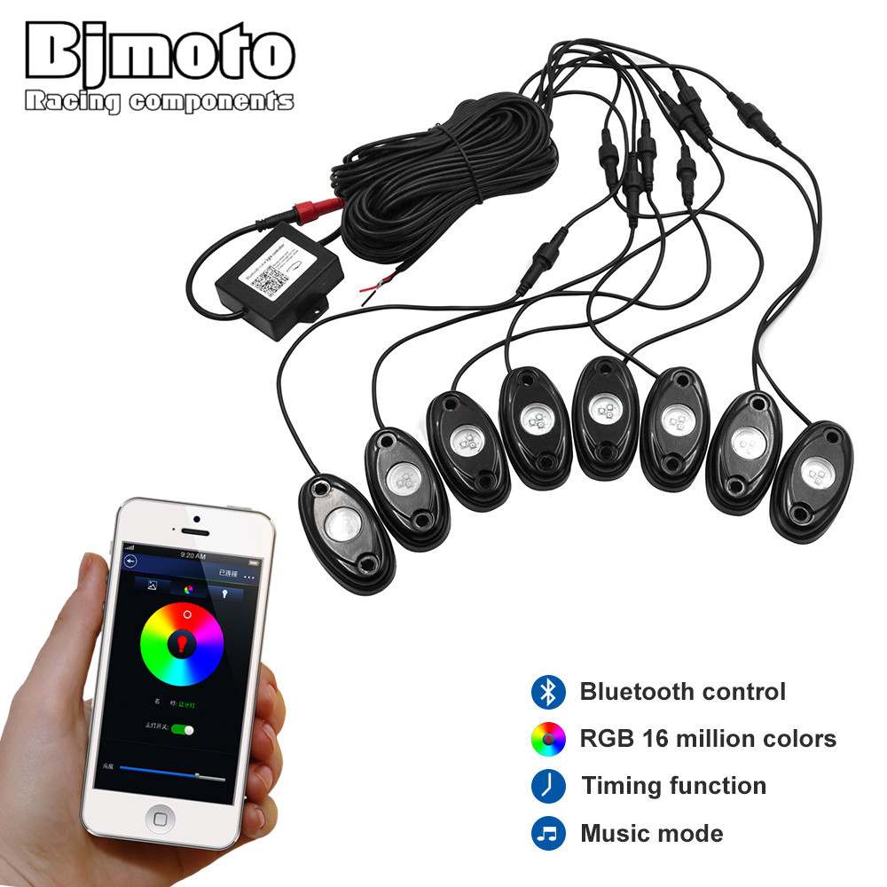 BJMOTO 2016 New arrival under car light 8pods 9w RGB led rock light with Bluetooth Control for 4x4 Off road ATV new arrival portable 4 led powered stick tap touch light lamp for car silver ap28