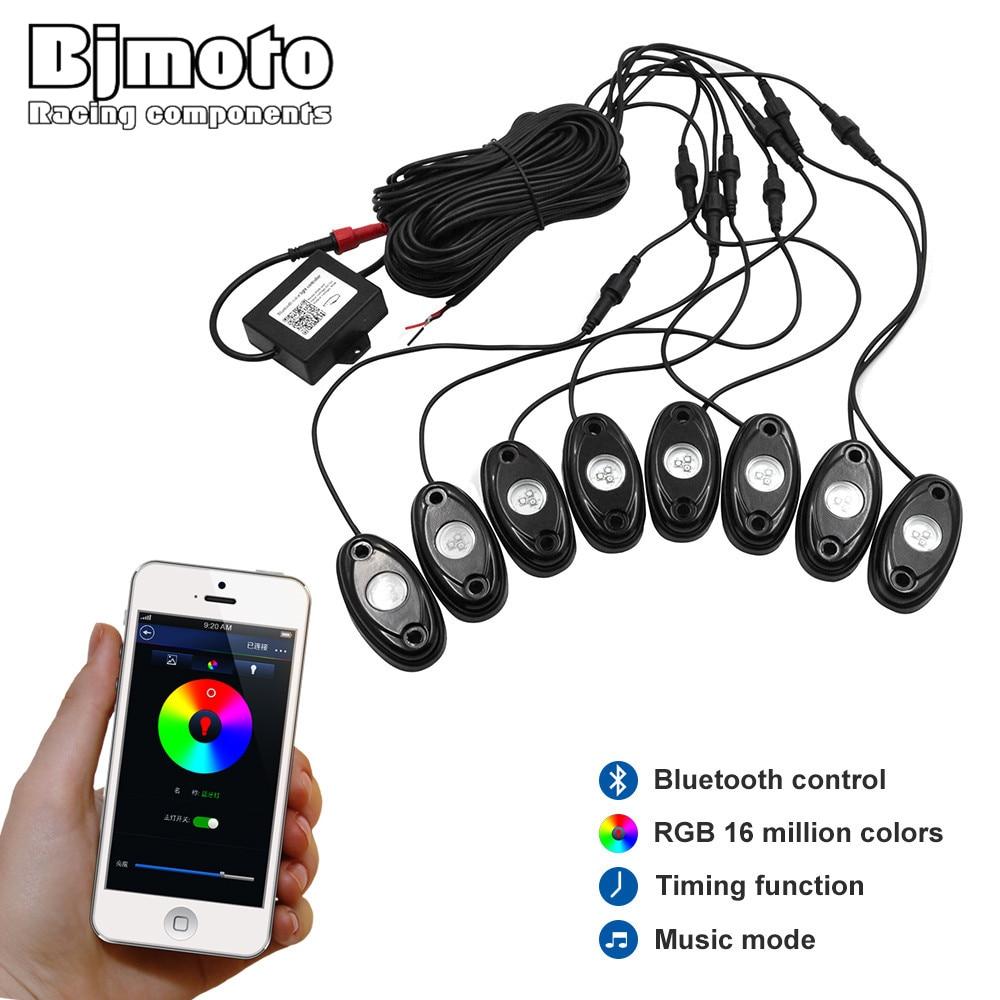 BJMOTO 2016 новое прибытие под автомобиль свет 8pods 9 Вт RGB светодиодов рок свет с управлением bluetooth для 4 x 4 бездорожью ATV