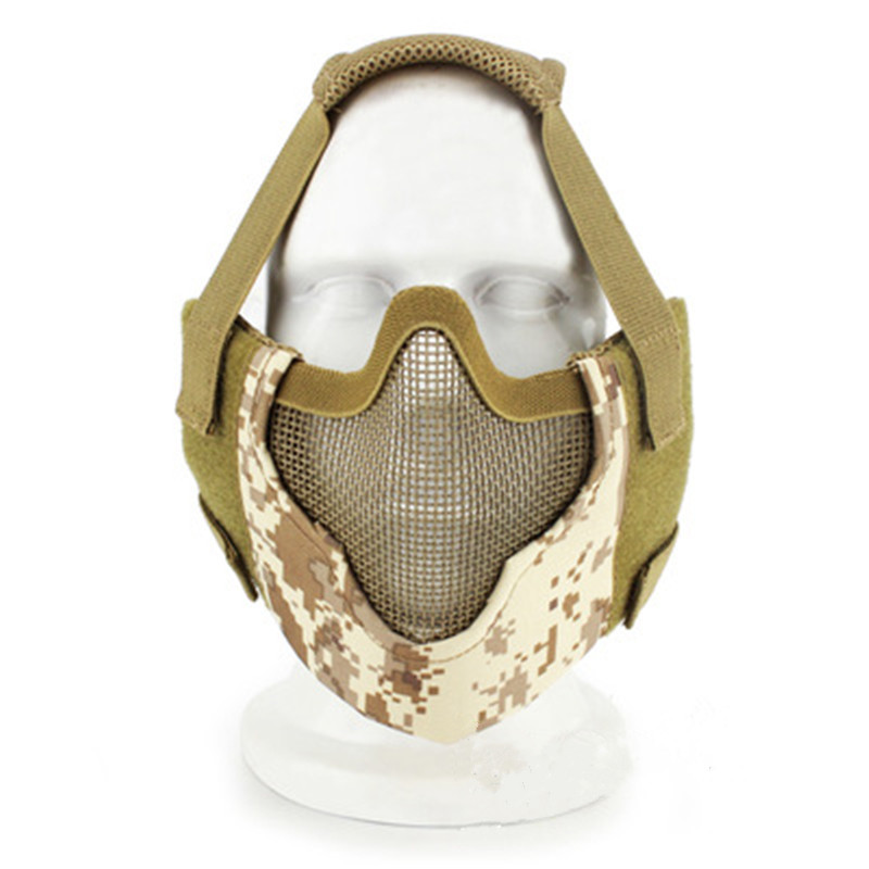 WoSporT Paintball Gear Big vision Half Face Mask Camouflage Outdoor CS War Game Protective Mask for Tactical Airsoft Accessories