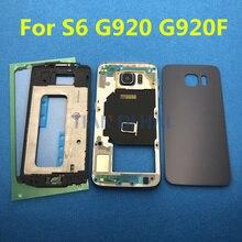 S6 Đầy Đủ Nhà Ở LCD khung bảng Giữa khung trường hợp Pin door cover Quay Lại Đối Với Samsung Galaxy S6 G920 G920F Vỏ Điện Thoại
