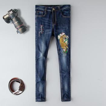 Mid Skinny Jeans Men Real New Mens Station Elastic Fitness Korean Straight Cylinder Smoke Shoe Pants Brand 2019 Embroidery