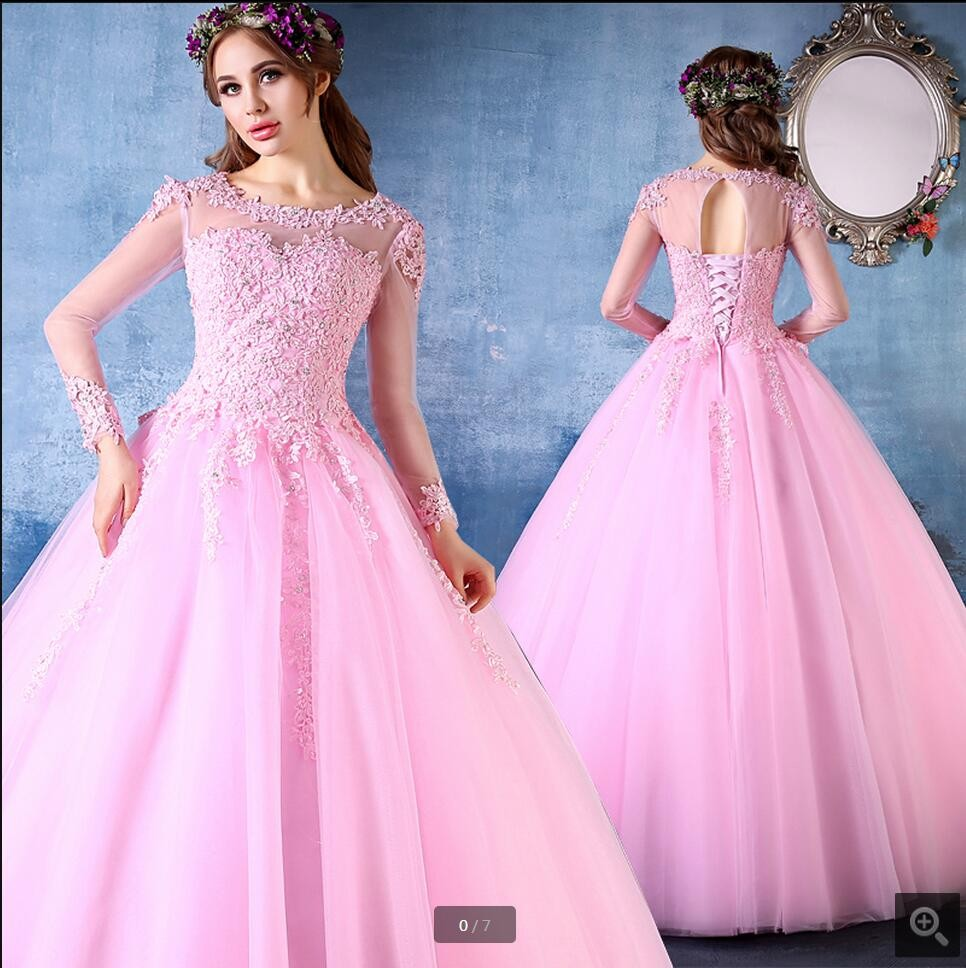 b6a9c83d36f 2017 Pink Ball Gown Prom Dresses Long Sleeves Corset Back Beaded Lace Tulle  Princess Seniors Formal Prom Gowns Cheap Custom Made