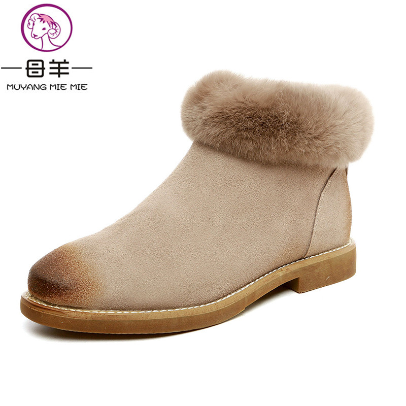MUYANG MIE MIE Winter Women Shoes Woman Nubuck Suede Leather Flat Snow Boots Female Rabbit Velvet Warm Ankle Boots Women Boots muyang mie mie plus size 35 43 winter women shoes woman genuine leather flat ankle boots 2016 fashion snow boots women boots