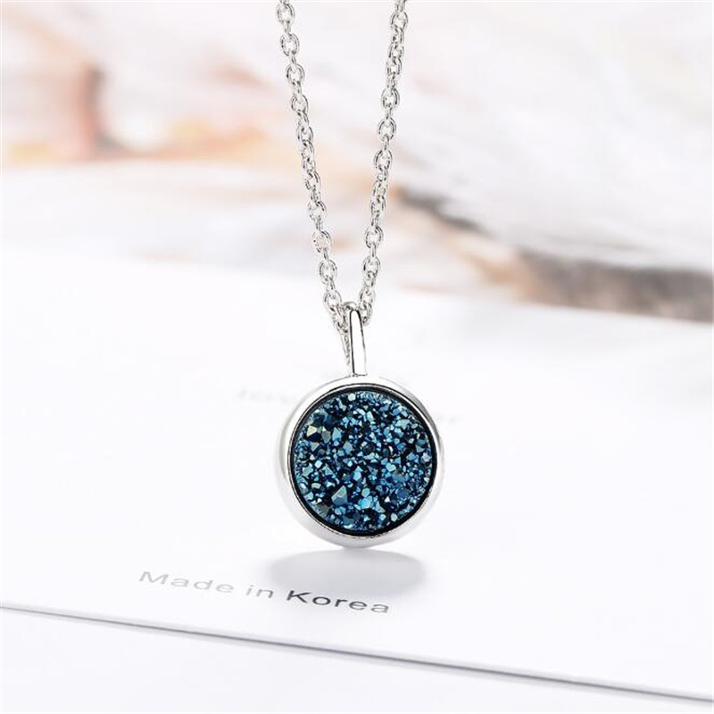New Arrival Plant Women Blue Crystal Fragment 925 Sterling Silver Fashion Jewelry Round Azure Dream Star Pendant Necklaces N504