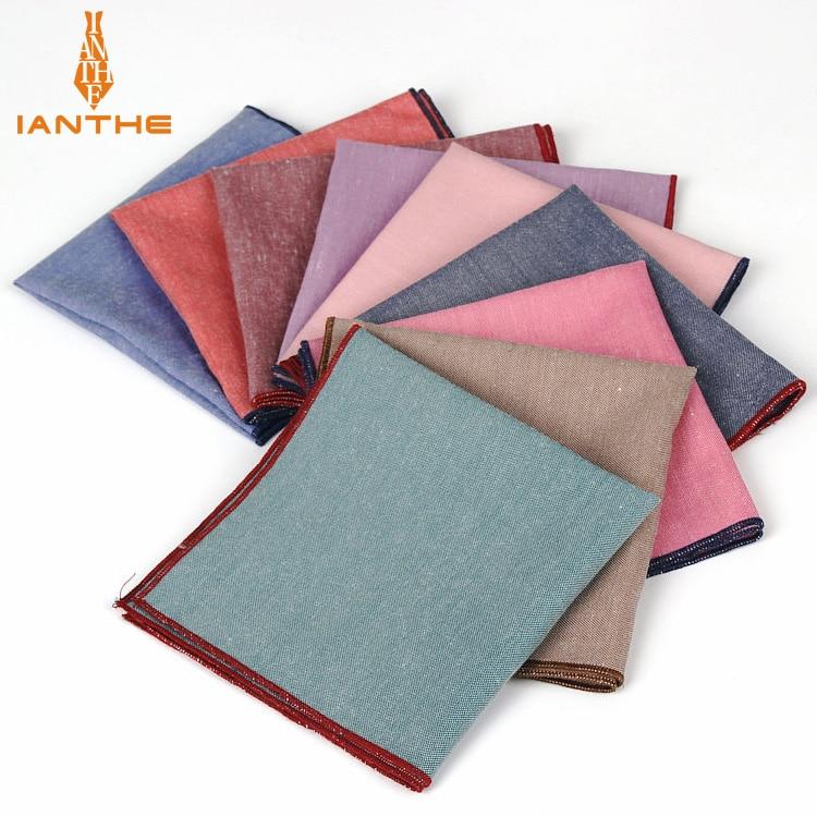 Brand New Men's Hankerchief Scarves Vintage Like Linen Hankies Men's Suits Pocket Square Handkerchiefs Solid Color 23*23cm
