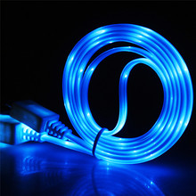 LED Glow USB Charger Type C/Micro USB/8 Pin Data Charging Cable for iPhone X 7 Plus Samsung Galaxy S9 S8 Noodle Charge Wire Cord стоимость