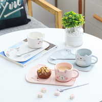 Free shipping Berjaya New Cartoon Cat Ceramic Mug With Spoon Kids' mug and Porcelain cat tray Dinner Plates Kitchen Set