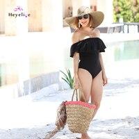 New Women S Swimming Suit Cute Off Shoulder Ruffle Swimwear Black One Piece Bathing Suits Beach