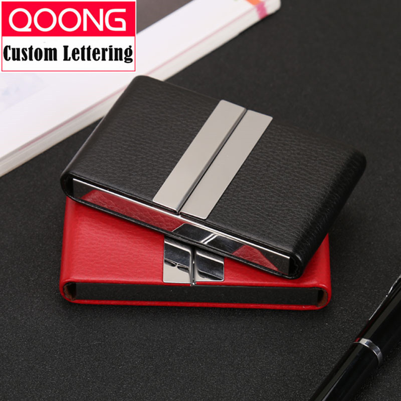 QOONG NEW Leather Double Open Credit ID Card Holder Big Capacity Travel Card Wallet Business Card Case Metal Wallet Cardholder