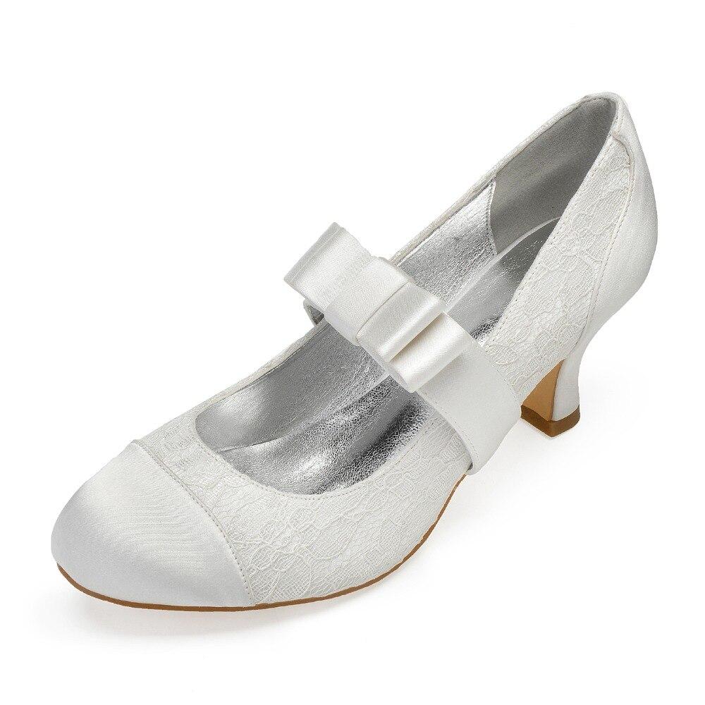 Doux satin patché dentelle bout arrondi bloc chaton talon chaussures de mariée épais talon inférieur mariage talons nœud sangle fille balle chaussures