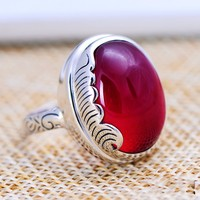 sS925 silver retro synthetic gemstone ring red corundum factory direct sales